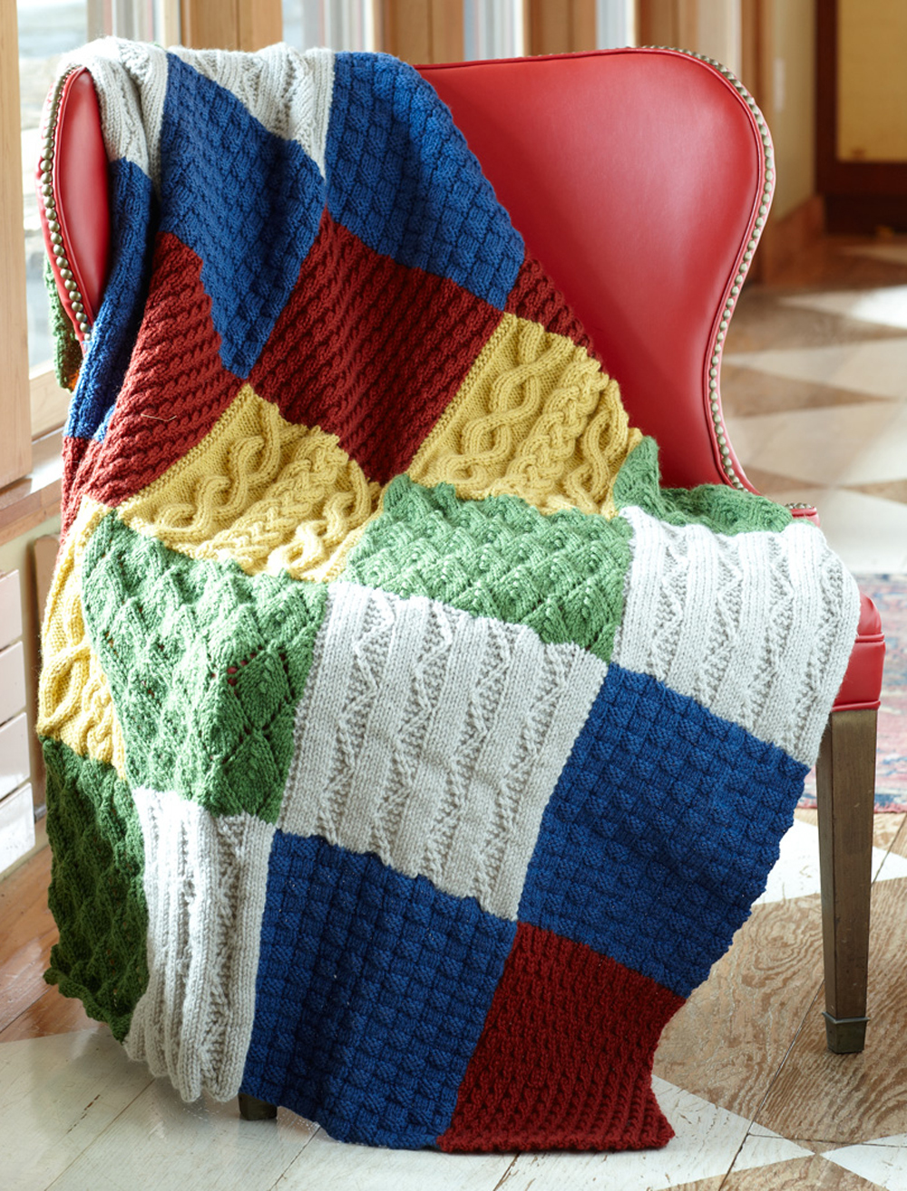 Patch Sampler Throw AllFreeKnitting.com