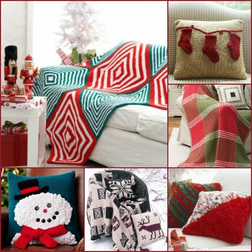 Spreading Christmas Cheer: 12 Knit Afghan Patterns + Pillows AllFreeKnittin...