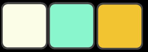 Cream, Mint, Yellow