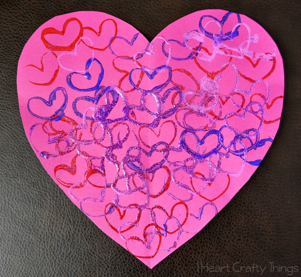 Glitter Heart Stamp Art AllFreeKidsCrafts