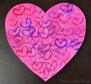 Glitter Heart Stamp Art