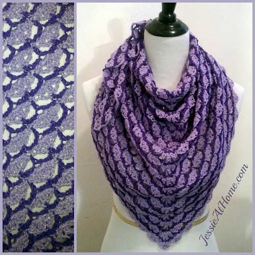 Lavender Blooms Triangle Shawl
