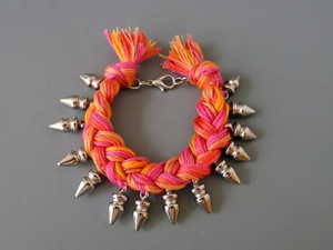 Eye Popping Spiked Braided Bracelet