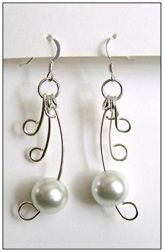 Wire Winged Pearl Earrings
