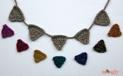 Glimmering Holiday Crochet Necklace