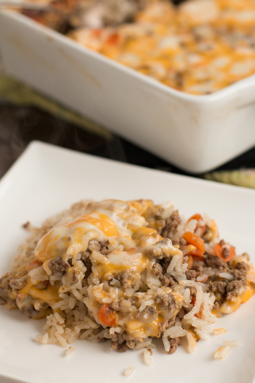 Extra-Cheesy Ground Beef and Rice Casserole