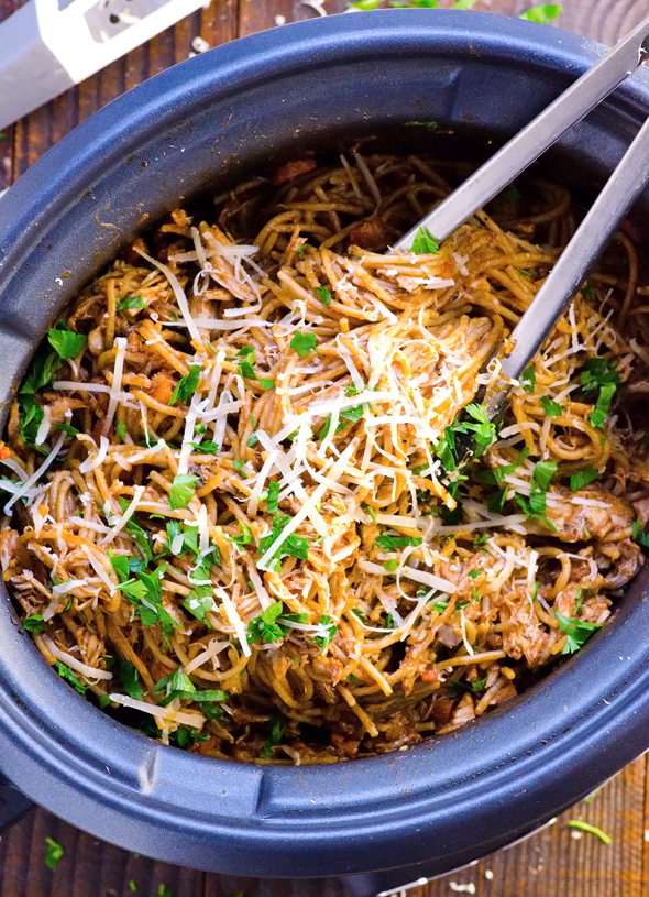 Slow cooker chicken and spaghetti recipe for Healthy casserole crock pot recipes