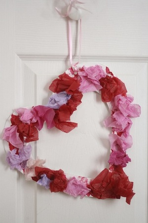 Tissue Paper Heart Wreath