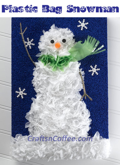 Recycled Plastic Bag Snowman Portrait