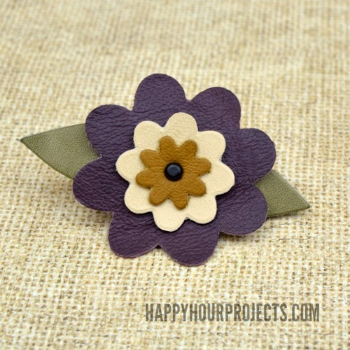 Floral Leather Barrette