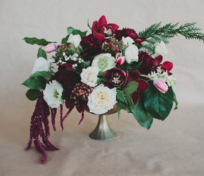 Rich Marsala Winter Wedding Centerpiece