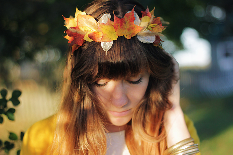 fall in love autumn leaf crown