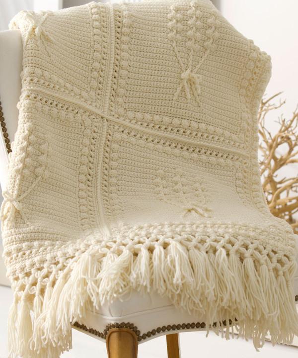 Aran Nosegay Crochet Blanket Pattern AllFreeCrochetAfghanPatterns.com