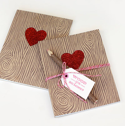 Wonderful Woodgrain Valentines Day Notebooks