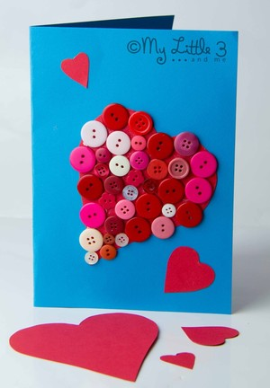 Adorable Button Valentine Card