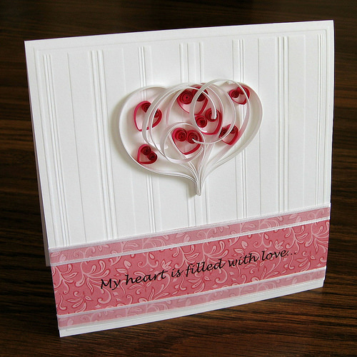 Romantic Quilled Hearts Card
