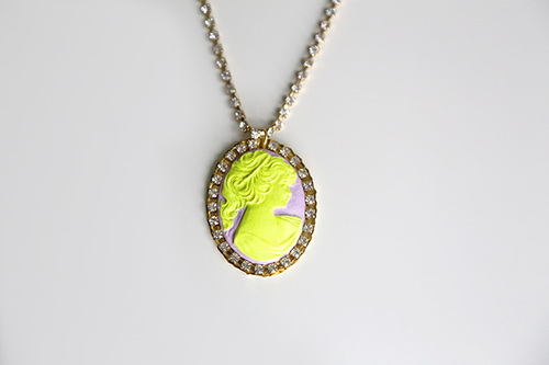 Neon Cameo Necklace