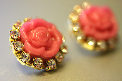Cabochon Rhinestone Stud Earrings