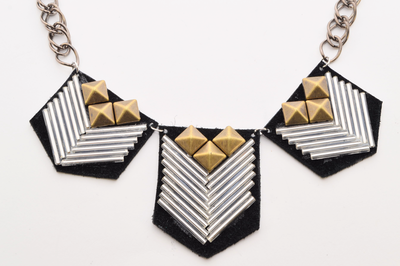 Chevron Patterned Leather Necklace