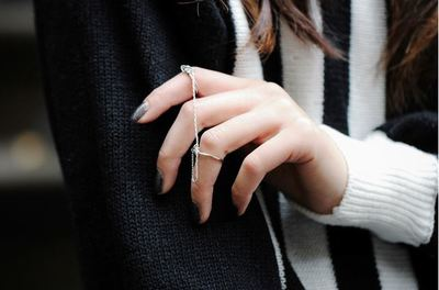Elegant Chained Wire Rings