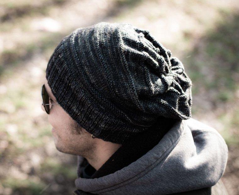 Man Slouch Knit Hat Pattern AllFreeKnitting.com