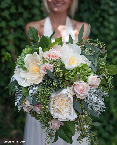 Bridal Bouquet with Fresh and Crepe Paper Flowers