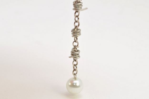 Barbed Wire Pearl Drop Earrings