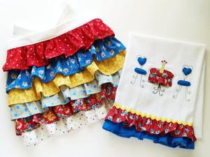 Patriotic Summer Ruffles Set Dishtowel