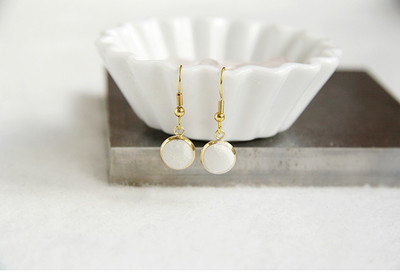 Wonderful White Concrete Dangle Earrings