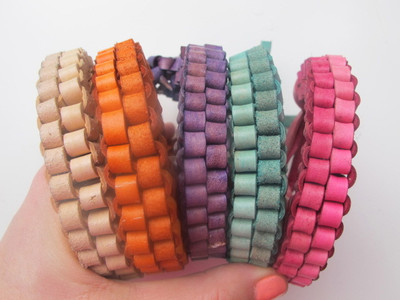 Colorful Leather Box Braid Bracelet