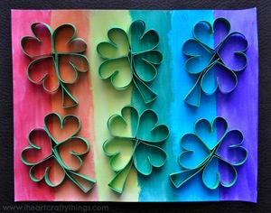 Rainbow Four-Leaf Clover Art