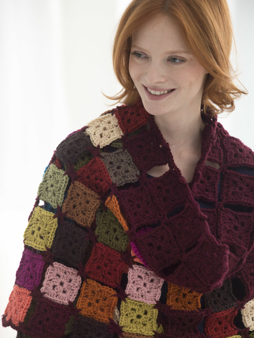 Charming Small Squares Crochet Shawl