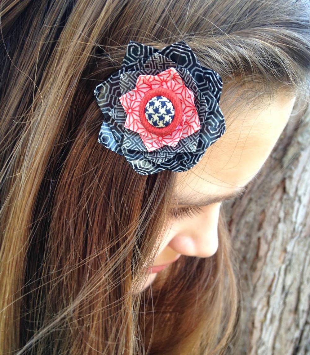 Black Flower Hair Accessory J7213: Scarlet And Black Flower Hair Pin