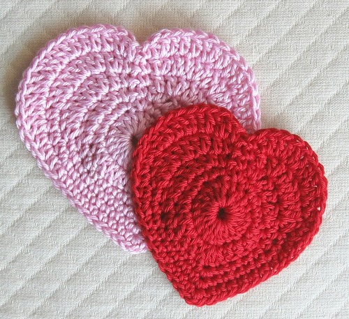 Pink and Red Crochet Hearts Pattern