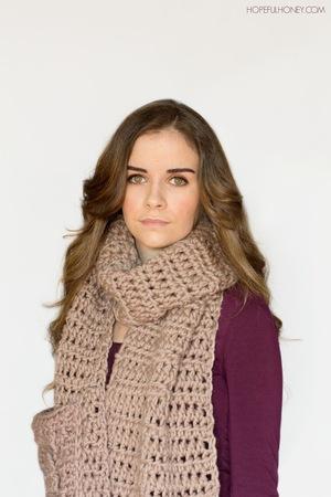 Oversized Pocket Scarf Free Crochet Pattern Favecrafts Com