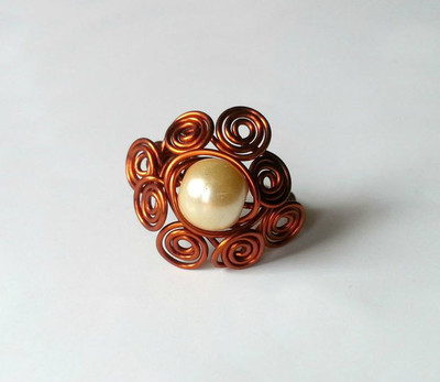 Swirl Wrapped Bead Wire Ring