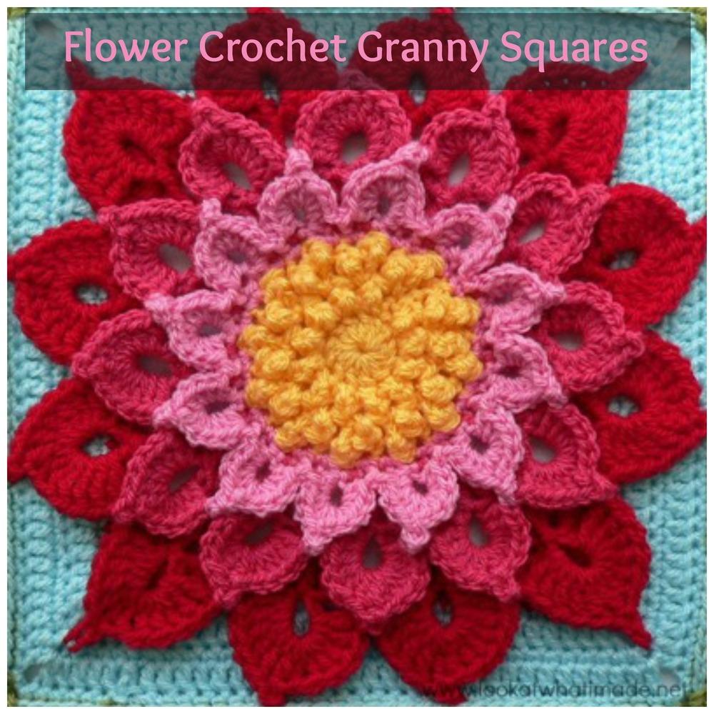 34 Flower Crochet Granny Squares AllFreeCrochetAfghanPatterns.com