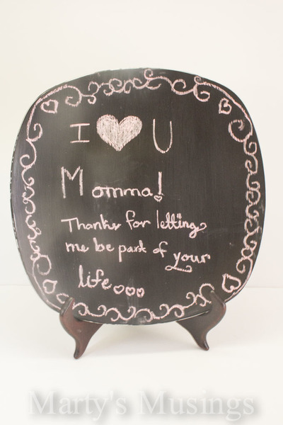 Decorative Chalkboard Paint Plate Mothers Day Craft