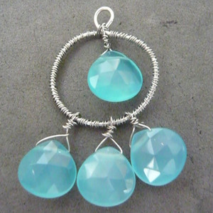 Blue Briolette Earrings