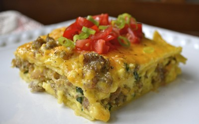 Sausage Egg and Spinach Overnight Casserole