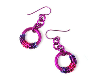 Colorful Coiled Chainmaille Earrings
