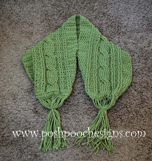 Green Meadows Cable Stitch Crochet Scarf