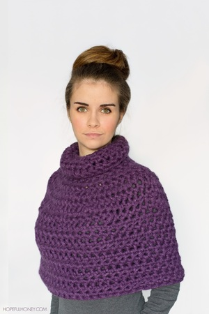 Purple Crochet Capelet Pattern