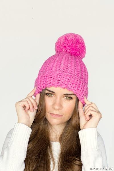 Pink Pompón de ganchillo Beanie Hat