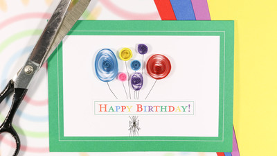 Quilled Balloon Paper Birthday Card