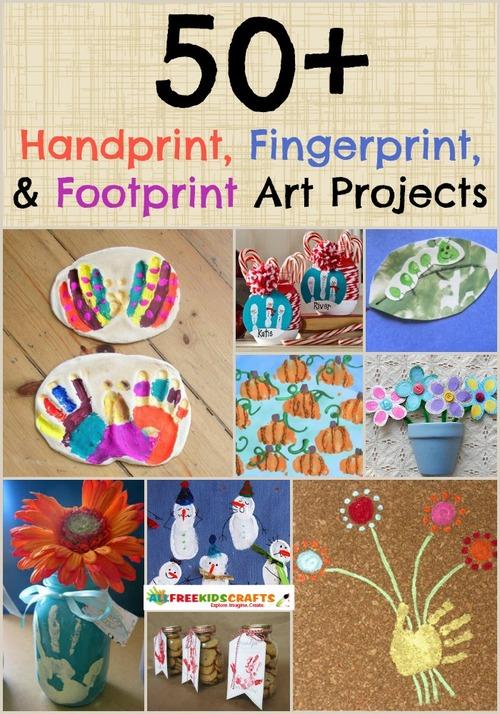 57 Handprint Art, Fingerprint Art, and Footprint Art Projects