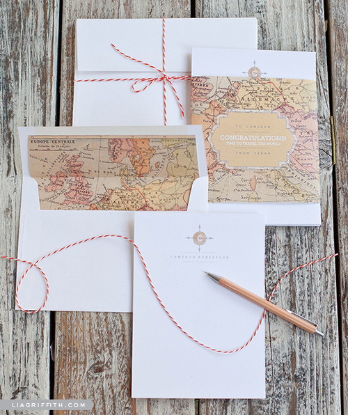 Printable Vintage Map Stationery Set