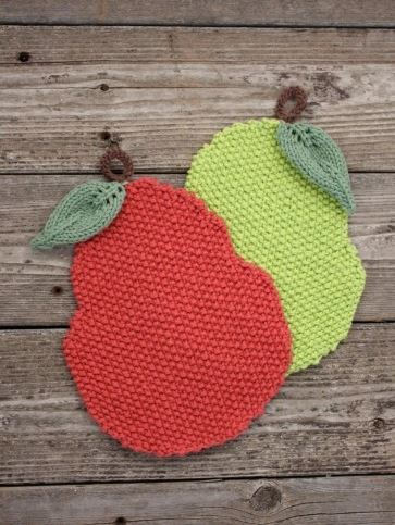 Seed Stitch Pear Dishcloth Pattern