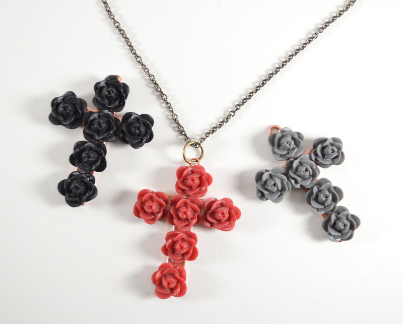 Chained Flower Cross Necklace
