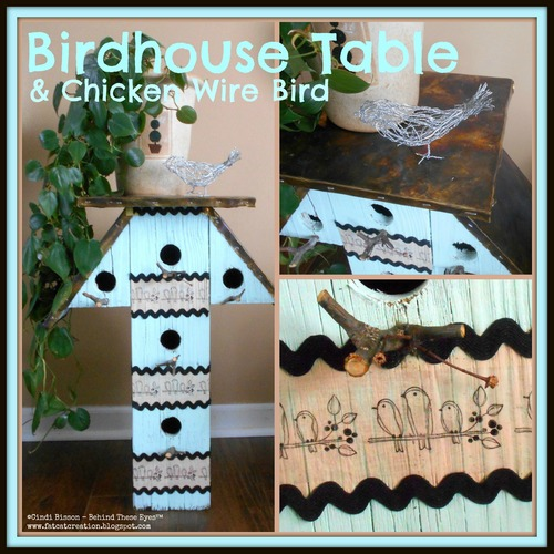 Birdhouse Table  Chicken Wire Bird